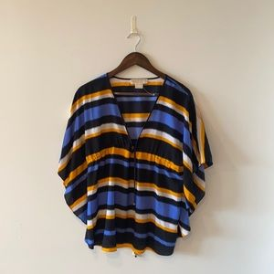 NWOT Michael Kors gold &blue striped spring blouse